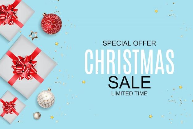 Fondo de venta de navidad y año nuevo, plantilla de cupón de descuento. Vector Premium