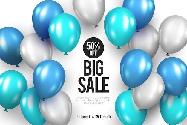 Fondo de venta realista con globos vector gratuito