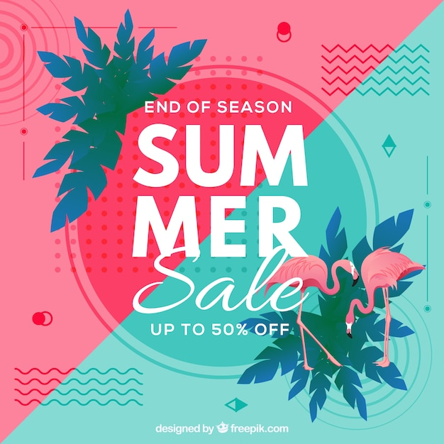 Fondo de venta de verano con elementos de playa vector gratuito