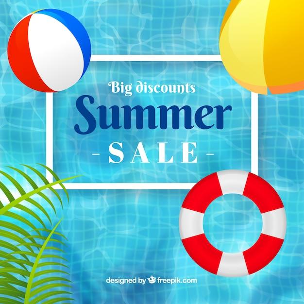 Fondo de venta de verano con piscina y flotadores en estilo realista vector gratuito
