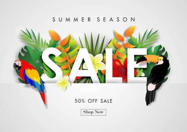 Fondo de venta de verano con vector de diseño tropical Vector Premium