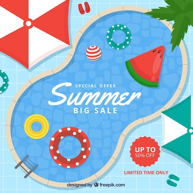 Fondo de venta de verano con vista superior de piscina en estilo plano vector gratuito
