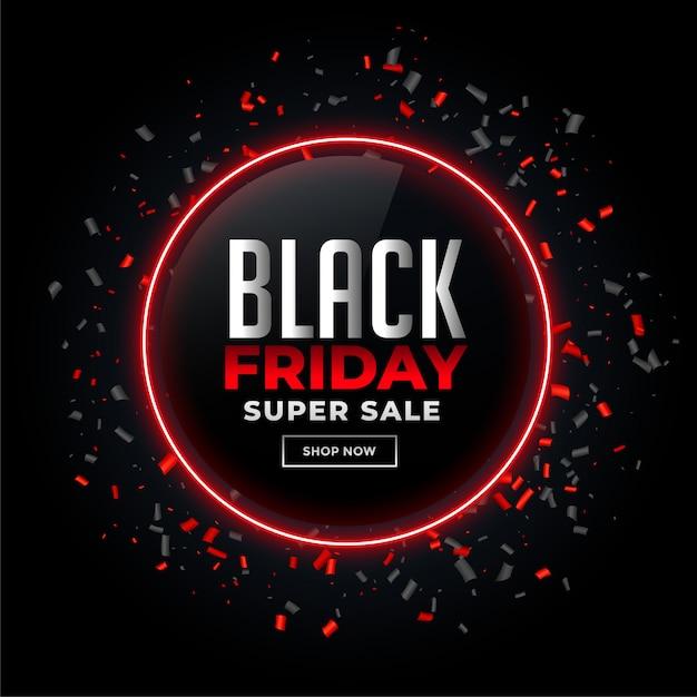 Fondo de venta de viernes negro con confeti vector gratuito