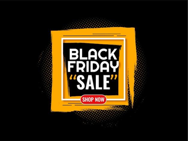 Fondo de venta de viernes negro con marco de trazo de pincel amarillo vector gratuito