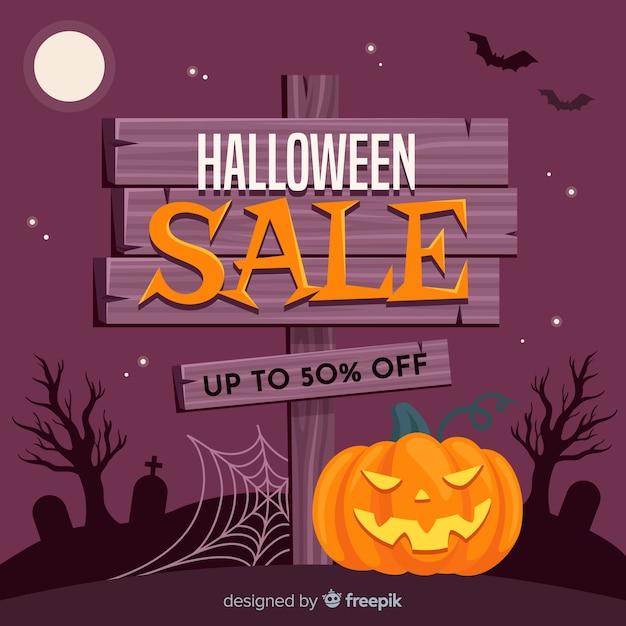 Fondo de ventas de halloween en estilo plano vector gratuito