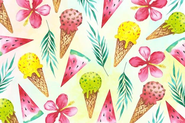 Fondo de verano acuarela con conos de helado vector gratuito