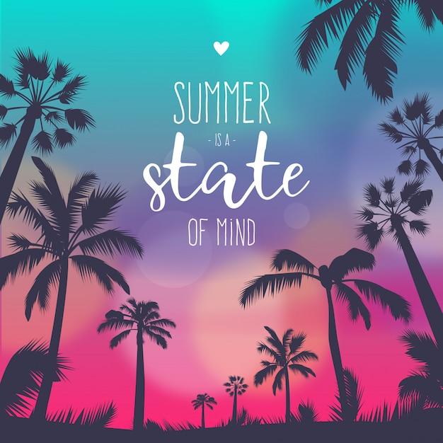 Fondo de verano colorido atardecer con cita vector gratuito