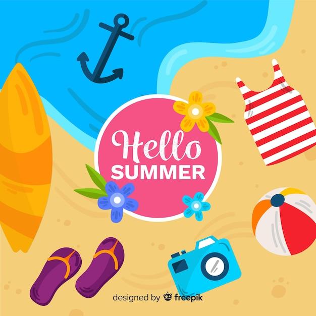 Fondo de verano en diseño plano vector gratuito