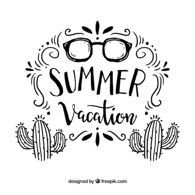 Fondo de verano con elementos de playa vector gratuito