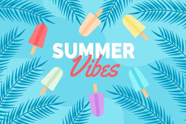 Fondo de verano con helado Vector Premium