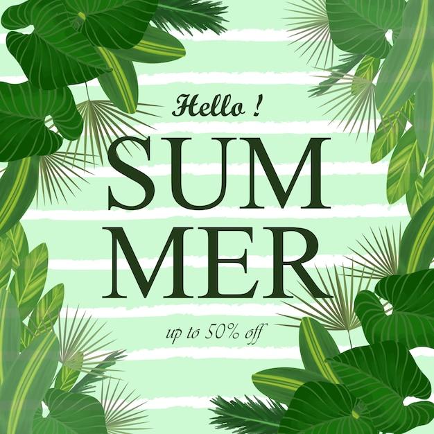 Fondo de verano con hojas tropicales. Vector Premium