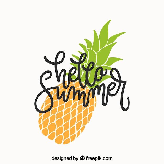 Fondo de verano con lettering y piña Vector Premium