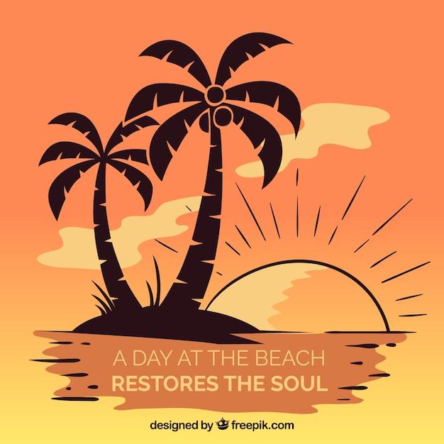 Fondo de verano con palmeras y lettering vector gratuito