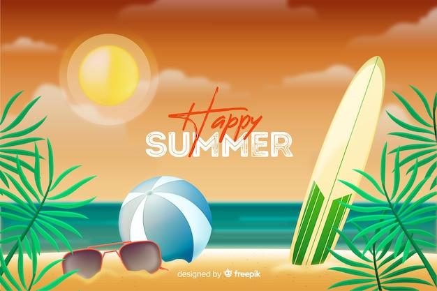 Fondo de verano realista vector gratuito