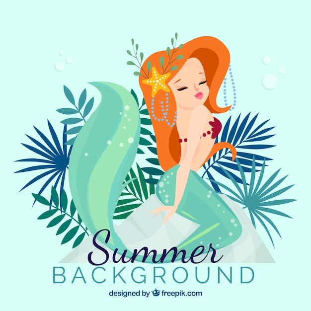 Fondo de verano con sirena vector gratuito