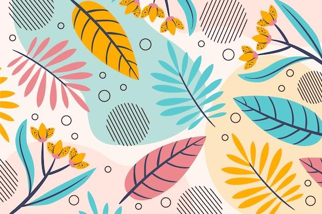Fondo de verano varias hojas y flores Vector Premium