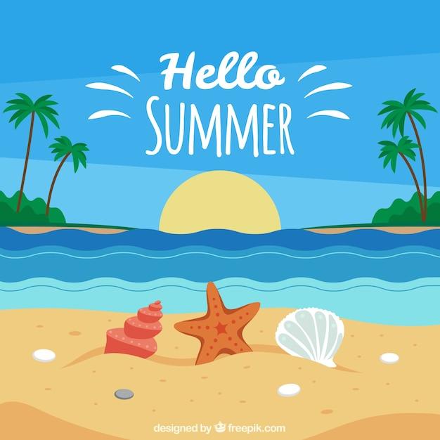 Fondo de verano con vista de playa vector gratuito