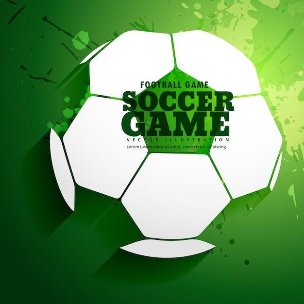 fondo verde con una pelota de fútbol Vector Gratis