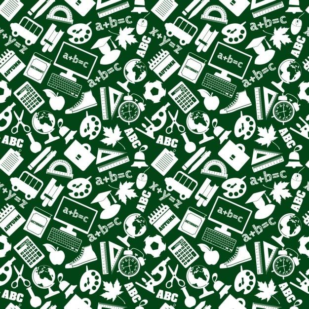 Fondo Verde De Materiales Escolares