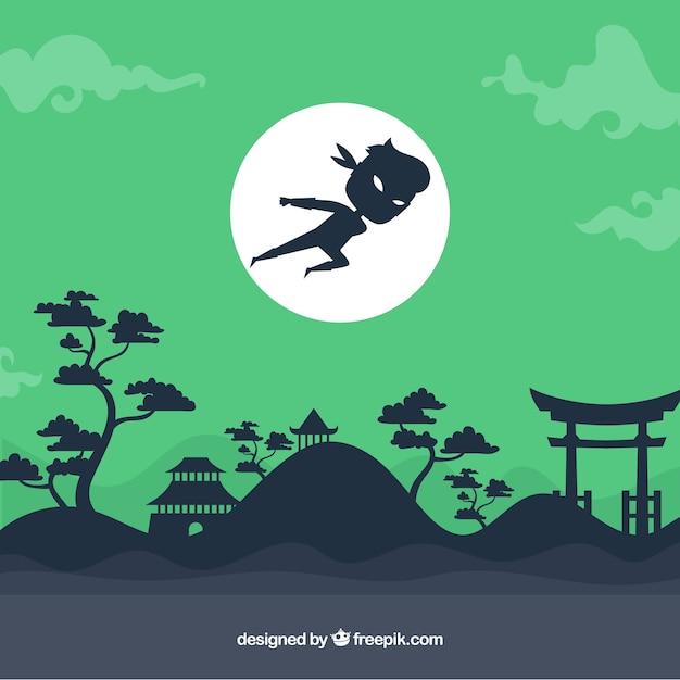 Fondo verde de guerrero ninja vector gratuito