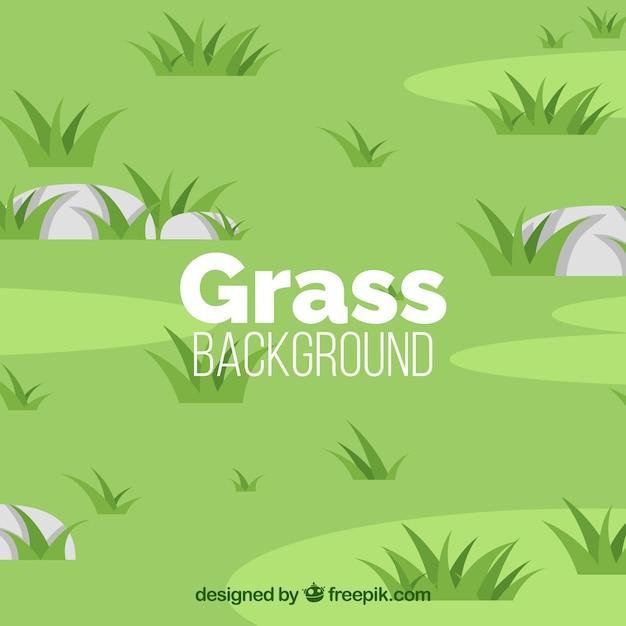 Fondo verde con hierba y piedras Vector Premium