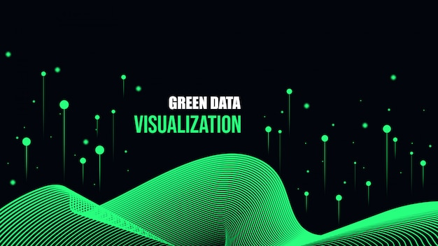 Fondo verde de visualización de datos cibernéticos. Vector Premium