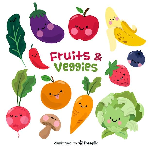 Fondo verduras y frutas dibujadas a mano vector gratuito