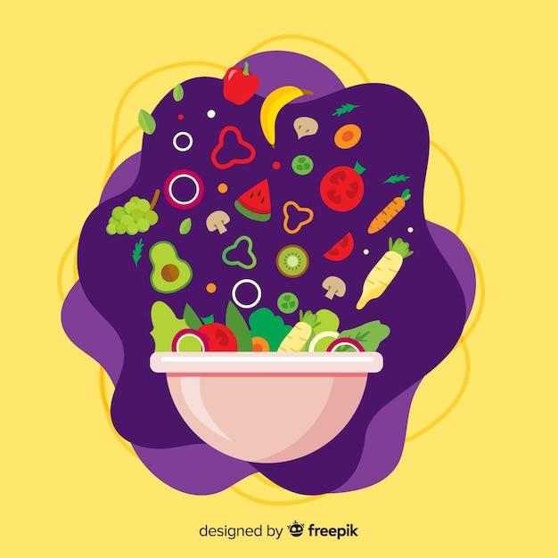 Fondo de verduras y frutas en diseño plano vector gratuito