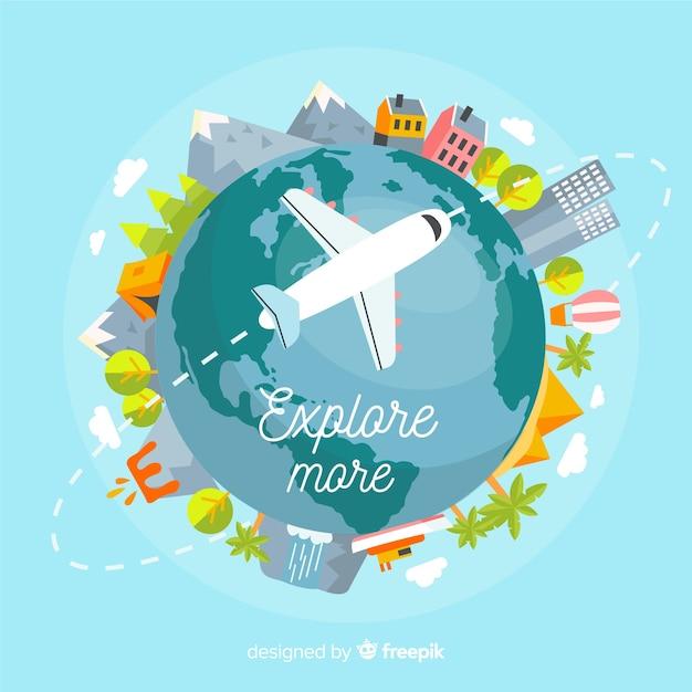 Fondo viaje avión dibujado a mano vector gratuito