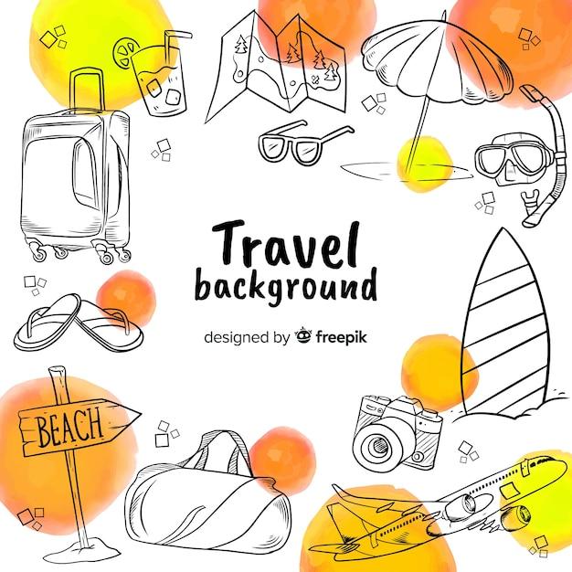 Fondo de viaje dibujado a mano vector gratuito