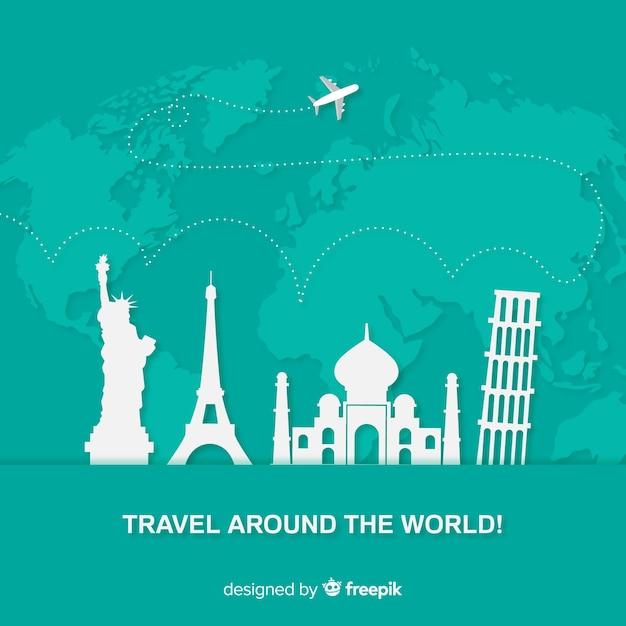 Fondo de viaje en diseño plano vector gratuito