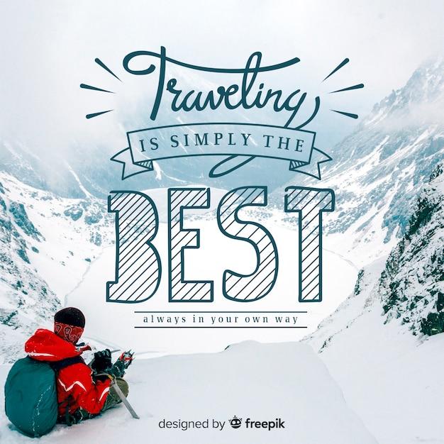 Fondo de viaje con foto y texto vector gratuito