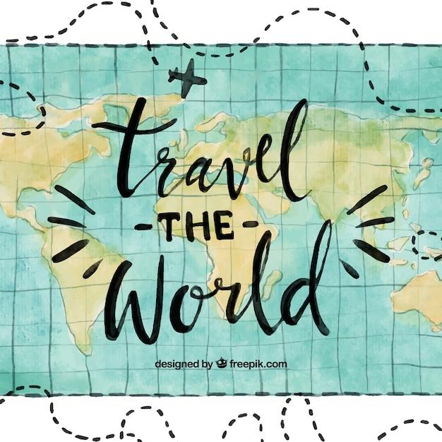 Fondo viaje por el mundo en acuarela vector gratuito
