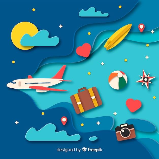 Fondo de viaje en papel vector gratuito