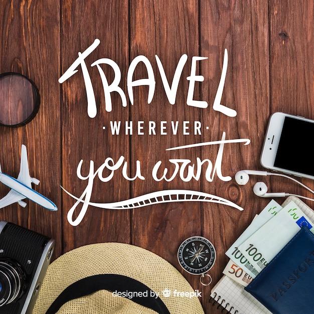 Fondo de viajes con caligrafía y foto vector gratuito