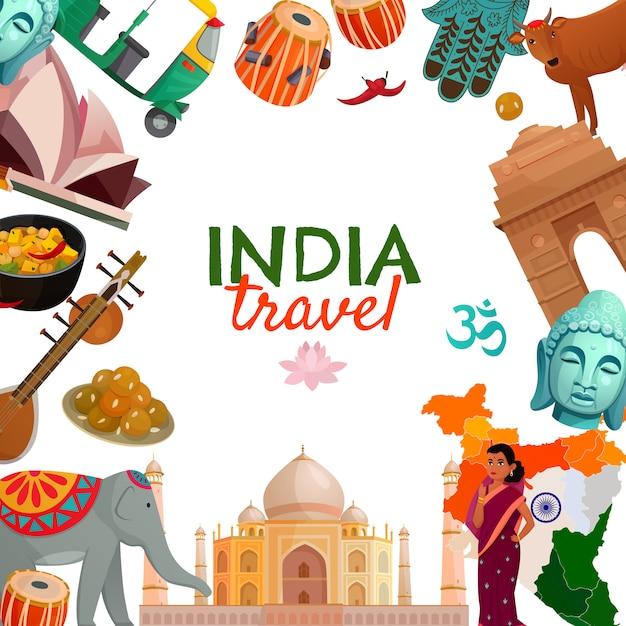 Fondo de viajes de india vector gratuito