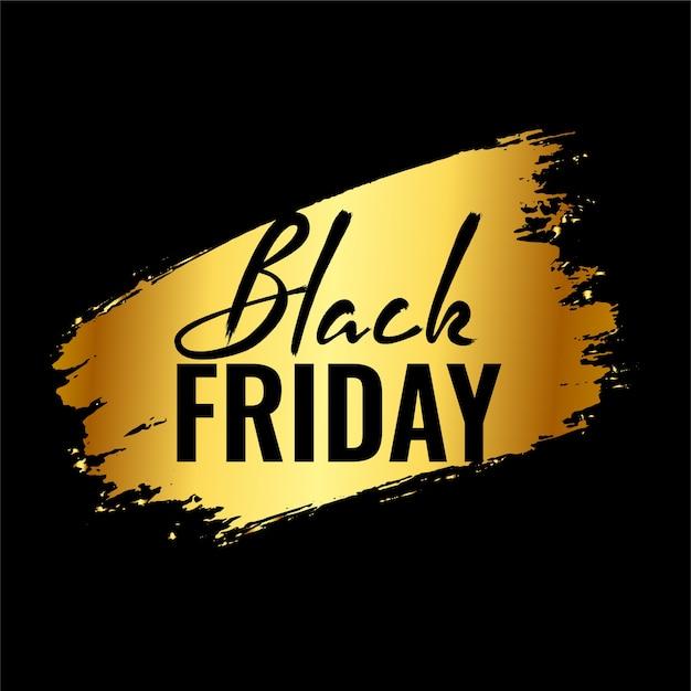 Fondo de viernes negro con trazo de pincel de salpicaduras doradas vector gratuito
