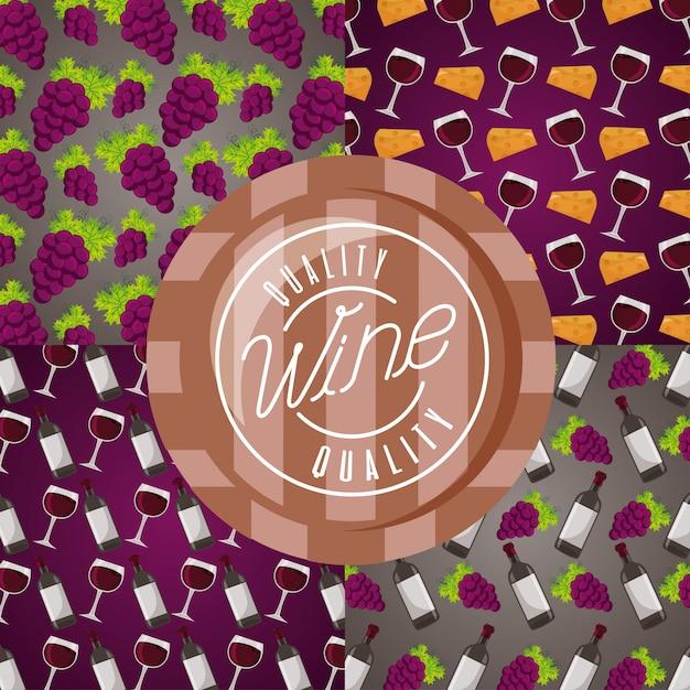 Fondo vino copa barril uvas decoración vector gratuito