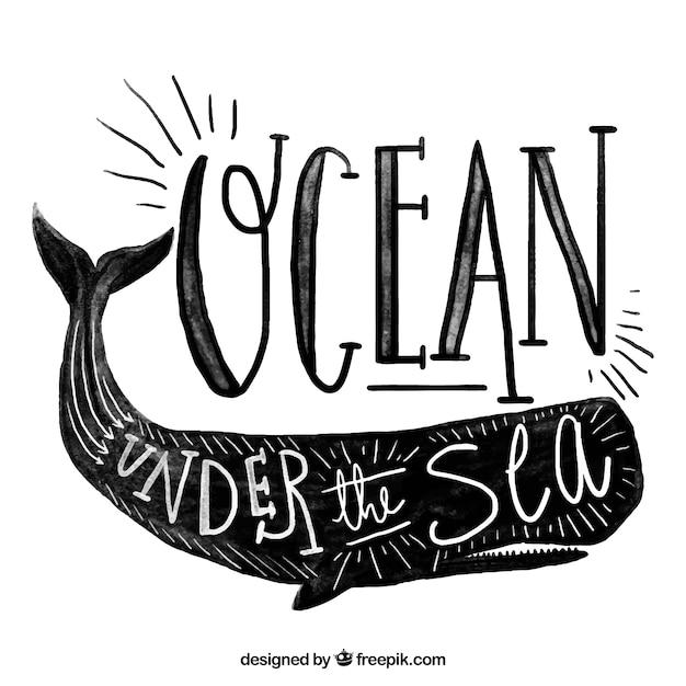 Fondo vintage de acuarela con una ballena vector gratuito