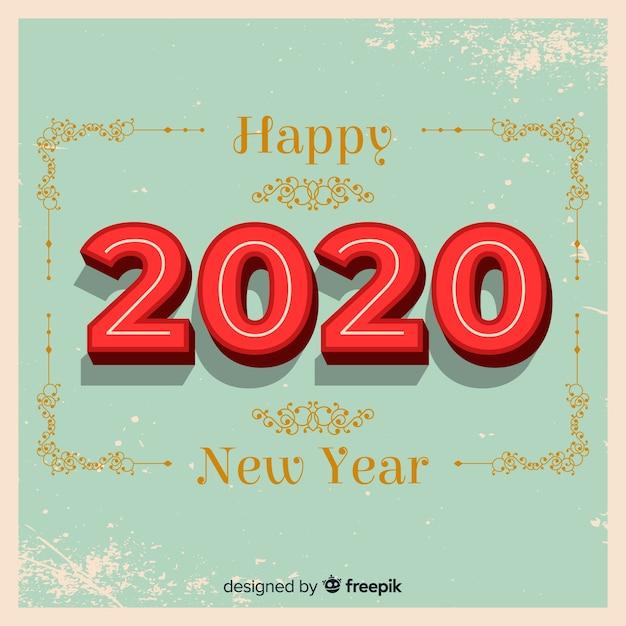 Fondo vintage año nuevo 2020 vector gratuito