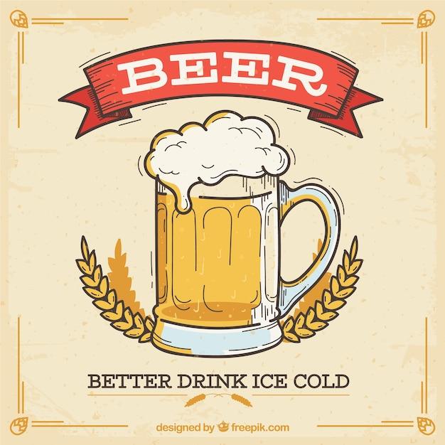 Fondo vintage de cerveza vector gratuito
