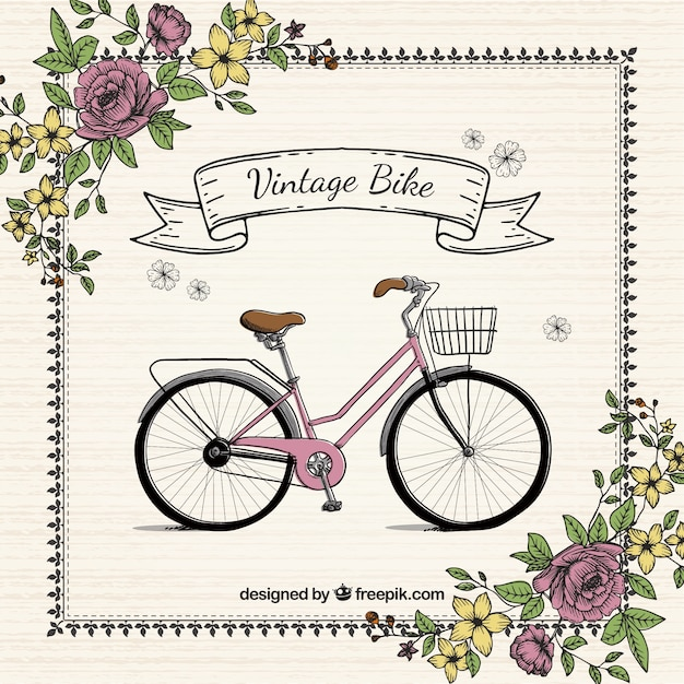 Fondo vintage de bici dibujada a mano con flores | Descargar ...