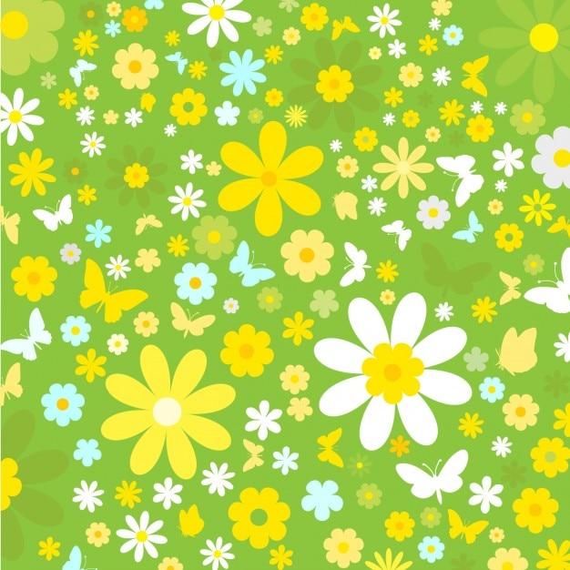 Fondo Vintage De Flores Y Mariposas