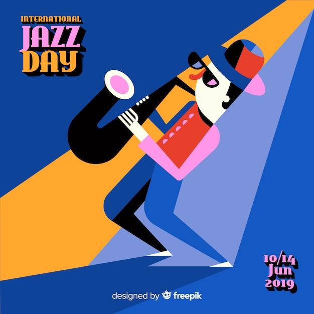 Fondo vintage del día internacional del jazz vector gratuito