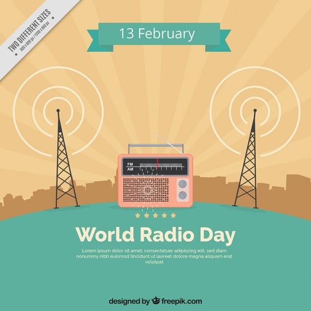 Fondo vintage del día mundial de la radio vector gratuito