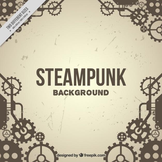Fondo vintage de engranajes en estilo steampunk vector gratuito