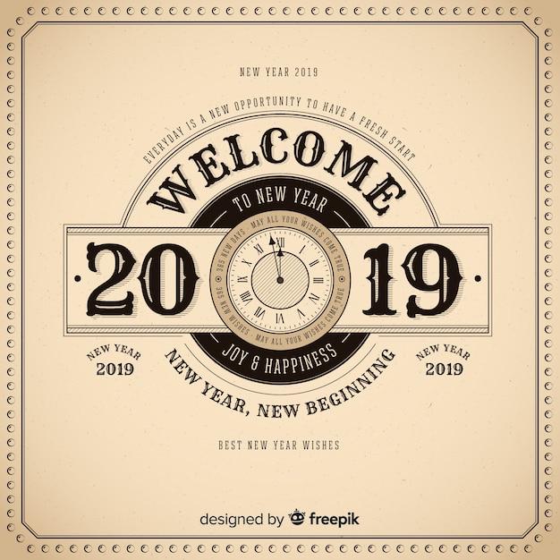 Fondo vintage de feliz año nuevo 2019 vector gratuito