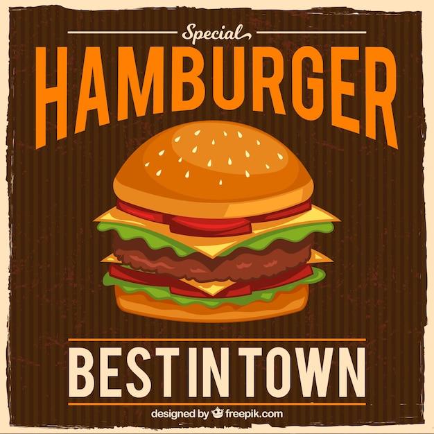 Fondo vintage con hamburguesa apetitosa vector gratuito