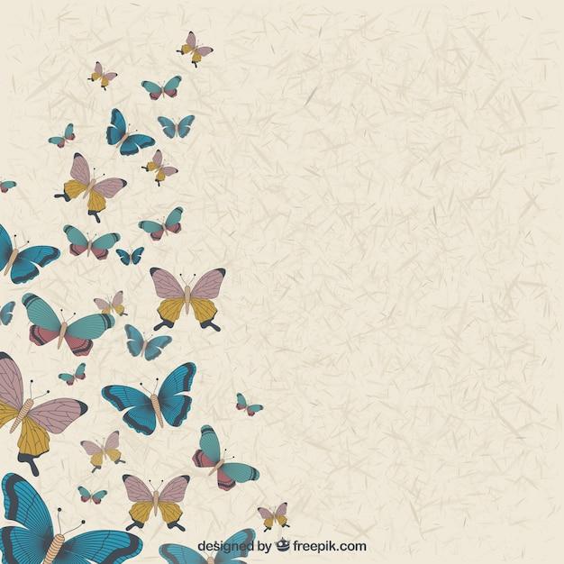 Fondo Vintage De Mariposas Dibujadas A Mano Descargar Vectores Gratis