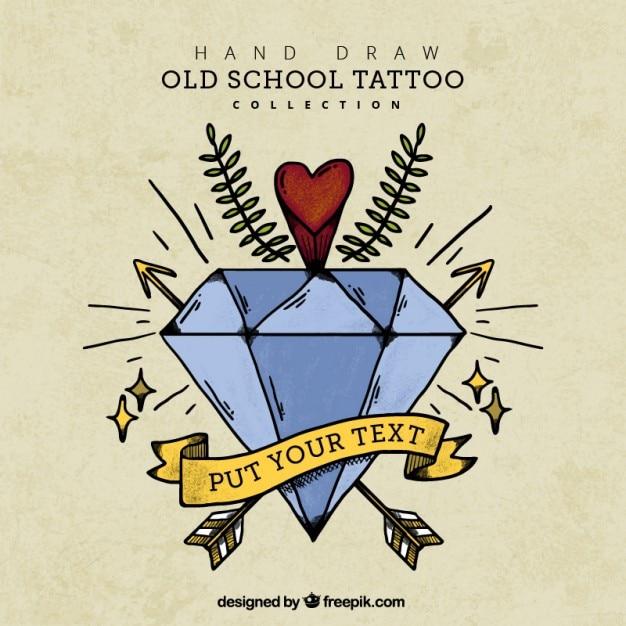 Fondo Vintage De Tatuaje De Diamante Dibujado A Mano Descargar